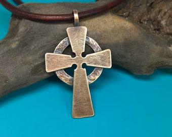 Mens cross necklace mens copper cross mens forged cross mens hammered celtic cross mens bronze celtic cross mens cross necklace mens celtic aloadofball Choice Image