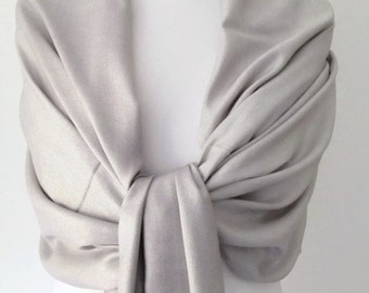 Silver Grey Pashmina , Gray Scarf , Large Shawl , Fair Trade Handwoven Bridesmaids Wrap