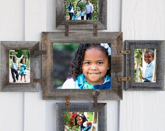 SALE NEW Barnwood Photo Collage Frame for 1 -- 8 X 10 & 4 -- 5 X 7s in your choice of colors