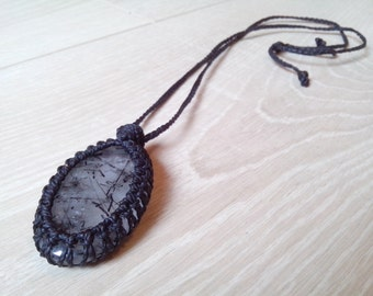Macrame crimped Quartz Tourmaline pendant