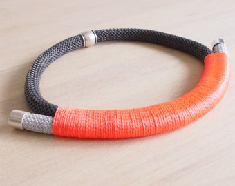 Free shipping within Australia!  Grey and silver rope necklace with fluorescent orange wrap
