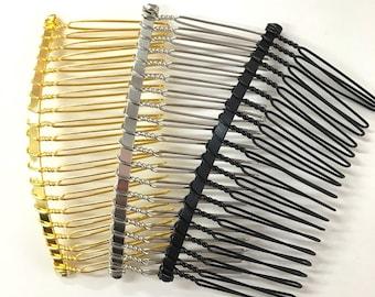 Set of 12 pc metal silver gold black blank hair comb fascinato supplies 3 inches long; diy bridal hair comb / veil supply (USA seller)
