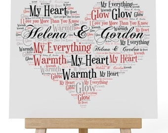 Personalised Love Word Art Wooden Plaque & Wooden Easel Stand - My Everything