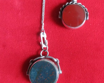 Antique Sterling Silver Watch Fob Necklace With Bloodstone & Agate Fobs