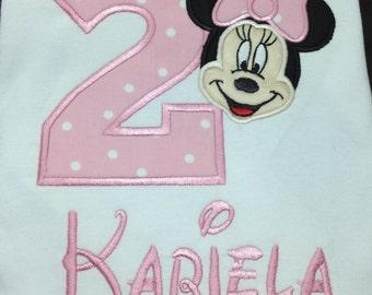 Minnie Mouse Baby Pink Birthday Shirt/onesie