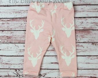Baby Girl Leggings,Deer Leggings,Infant Deer Pants,Leggings,Baby Girl Leggings,Girls Leggings,Buck,Deer,Pink,Baby Girl Gift,Newborn,Antler