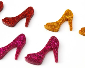 6 PC Glitter High Heels Shoes Slippers Resins Cabochons Red Dark Pink and Gold  Decoden Kawaii