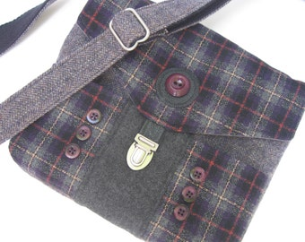 purse,handbag,cross body,handmade,plaid,gray,purple,recycle,go green,small, repurpose