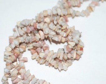 "2 Strands Pink Opal Chips 36""Long"