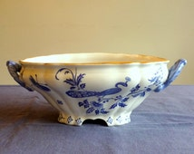 Antique dinnerware open serving dish, blue and white tureen, Boch Frères Keramis Paon, BFK dinnerware service