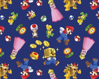 Per Yard, Nintendo Super Mario 2 Character Toss Fabric From Springs Creative