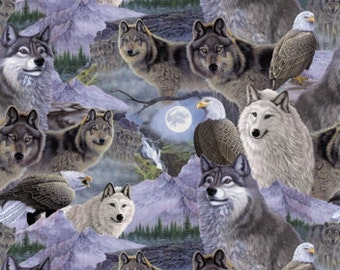 Per Yard, Call of the Wild Wolves Fabric From David Textiles