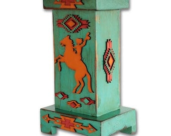 Southwest Cowgirl Lamp - Rustic - Tribal - Distressed - Lodge - Ranch Decor - Western Lamp - Handmade Wood Lamp - Aztec Design -Turquoise