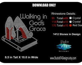 Rhinestone Transfer Template Pattern Stencil DOWNLOAD ONLY - Walking in God's Grace -  God - Bible -  Applique  DIY - Sticky Flock