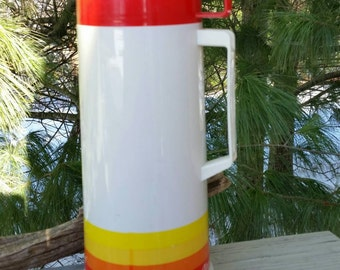 Aladdin Thermos Retro Red Yellow Orange 1 Quart