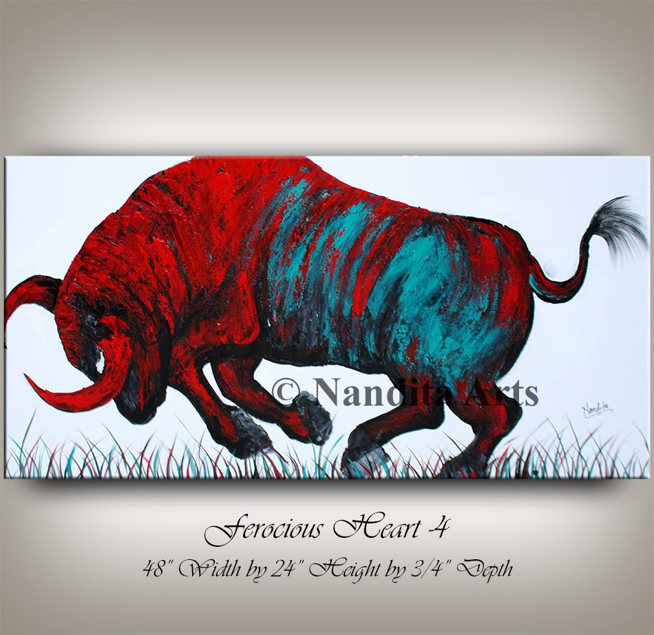 Large Abstract Bull Painting Original Texture Art Animal