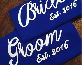 Bride & Groom Shirts Set, Personalized Bride Groom Set, Wedding Gift
