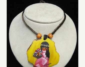 On Sale Vintage Hand-Painted DeGrazia Southwestern Necklace Item W-#385