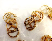 4 Copper Pocket Watch Balance Watch Wheel Gears, From Old Watch Parts, 17mm Spoke to spoke, For Steampunk Art Gear Jewelry, Repair #T03