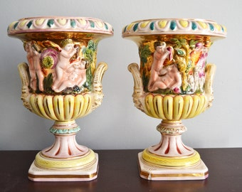 SALE! CAPADIMONTE VASES Set of Two Early 1900s Made in Italy