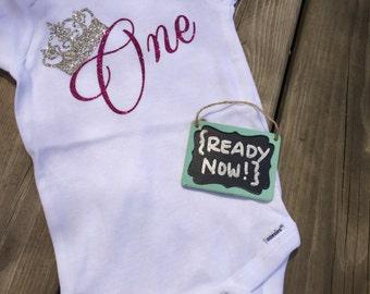 12 Month onesie -> { READY to ship NOW } - 1st Birthday - GLITTER