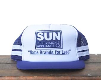 Vintage Sun Television & Appliance Co Name Brands For Less TV Trucker Hat Snapback Baseball Cap