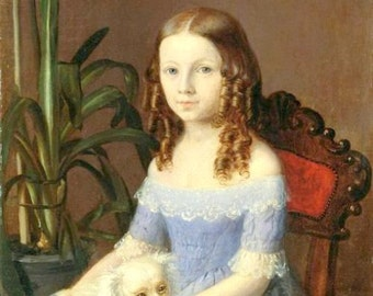 "Girl-in-a-blue-dress with white puppy dog.  1800s 8 x 10"" Poster print,   Artist unknown"