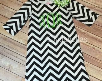 Personalized Chevron 3/4 length sleeve dress
