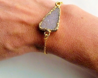 Natural Druzy With Brushed Toggle Bracelet
