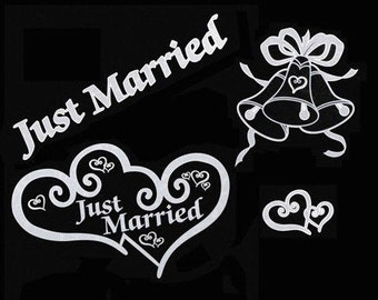 Just Married White Window Clings 15 pieces