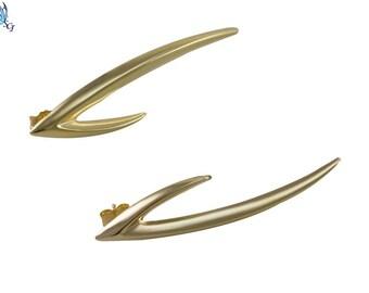 Gold Filled Long V Shape Ear Crawler Stud Earrings, Ear Crawler Earrings, Gold Earrings, Gold Stud Earrings, Long Earrings, GFER56