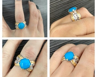 Daring yet demure!10mm Sleeping Beauty Turquoise Scrollwork Silver Palladium Wide Band Ring.