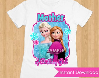 Frozen Iron On Transfer INSTANT DOWNLOAD - Mother DIY Printable Frozen Iron On Birthday Download - Frozen Tshirt Transfer Decal Disneyworld