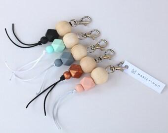 Lady Charm silicone keyring keychain mums gift key finders wooden bead keys handbags zipper charm bpa free jewellery australia new baby
