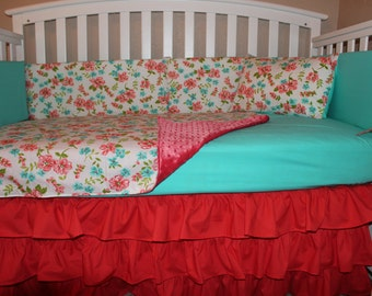 Crib Bedding Set, Floral, Coral, Aqua  5 Piece, Country Themed