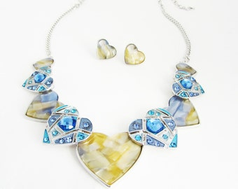 Mustard and Blue Sparkly Heart Necklace Set, Blue Heart Necklace Set, Chunky Blue Necklace, Heart Necklace, Blue Jewellery Set