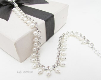 Ankle Bracelet, White Pearl and Rhinestone Ankle Bracelet, Wedding Ankle Bracelet, Beach Wedding Accessories, Silver Beach Anklet,
