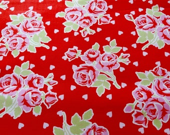 Tanya Whelan Falling Roses and Hearts in Red Fabric by the Yard