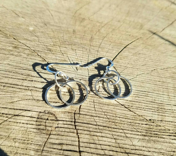 Vesica Piscis Cast Sterling Silver Earrings - Sacred Geometry - Healing