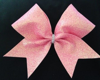 "Cheer bow-holographic pink ""super glitter"""