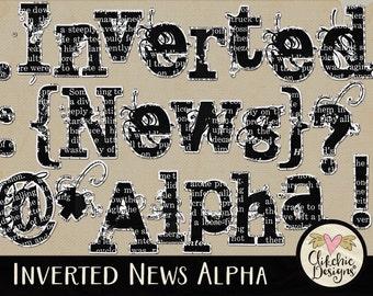 Newspaper Alpha - News Print Digital Scrapbooking Alpha Clipart - Digital Scrapbook Alphabet - Digital Alpha, Digital Alphabet,