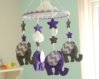 Nursery Mobile - Baby Mobile - Purple/Grey Mobile -  MADE TO ORDER