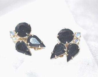 Vintage Black and Aurora Borealis Rhinestone Earrings