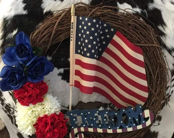 Freedom Grapevine Wreath