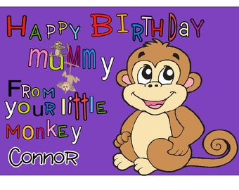 UNIQUE Funny cute  mummy Birthday Card & Envelope from your little monkey
