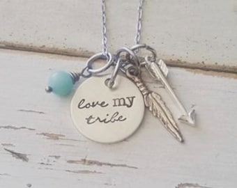Hand Stamped Jewelry-Sterling Silver Love My Tribe-Graduation-Wedding-Arrow-Feather-Tribal-Family-Birthday Gift-Bridesmaid-Friend Tribe