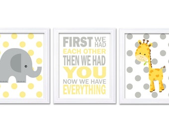 Giraffe Elephant Nursery Wall Decor Set of 3 Prints Yellow Grey Nursery Art Polka Dots First We Had Each Other Baby Jungle Safari