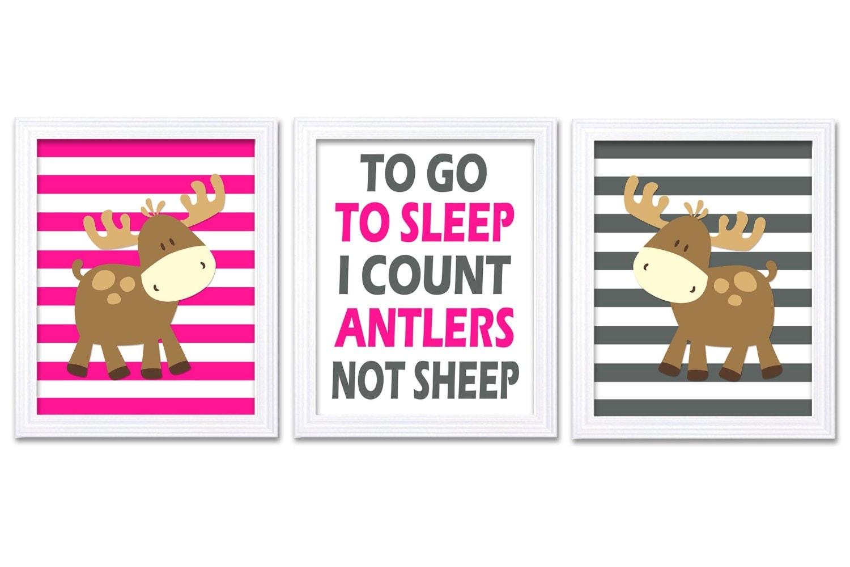 Moose Nursery Art Prints Set of 3 To Go To Sleep Count Antlers Hot Pink Grey Stripes Baby Girl Kid C