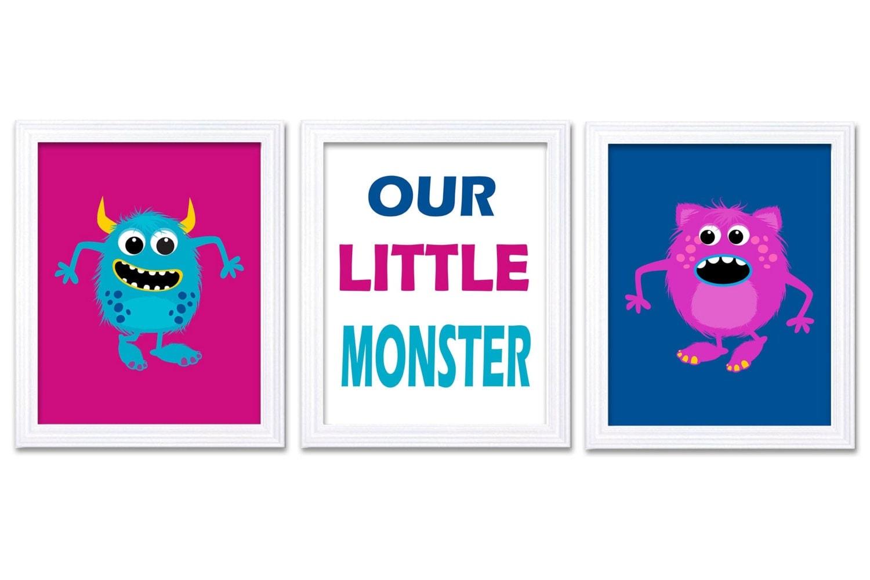 Monsters Nursery Art Set of 3 Prints Our Little Monster Pink Blue Child Art Kids Room Wall Art Baby