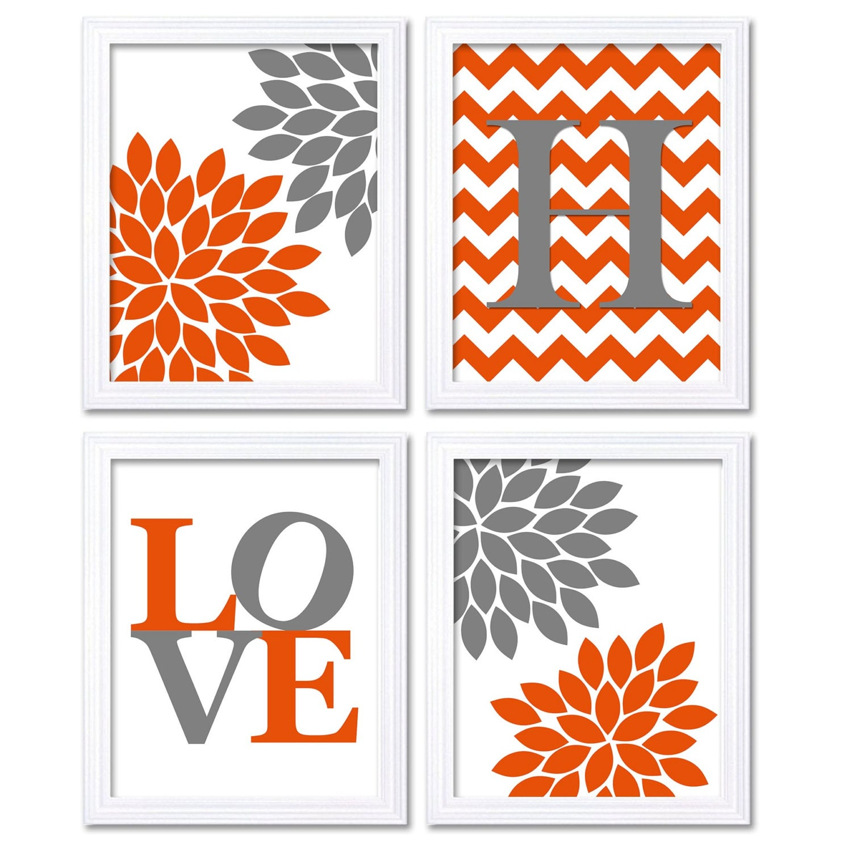 Nursery Art Coral Orange Grey Flowers Love Monogram Custom Letter Set of 4 Print Child Baby Nursery